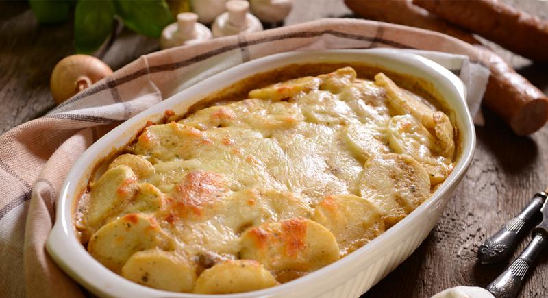 Sformato di patate, funghi e prosciutto cotto
