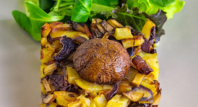 Tortino di patate con funghi crema