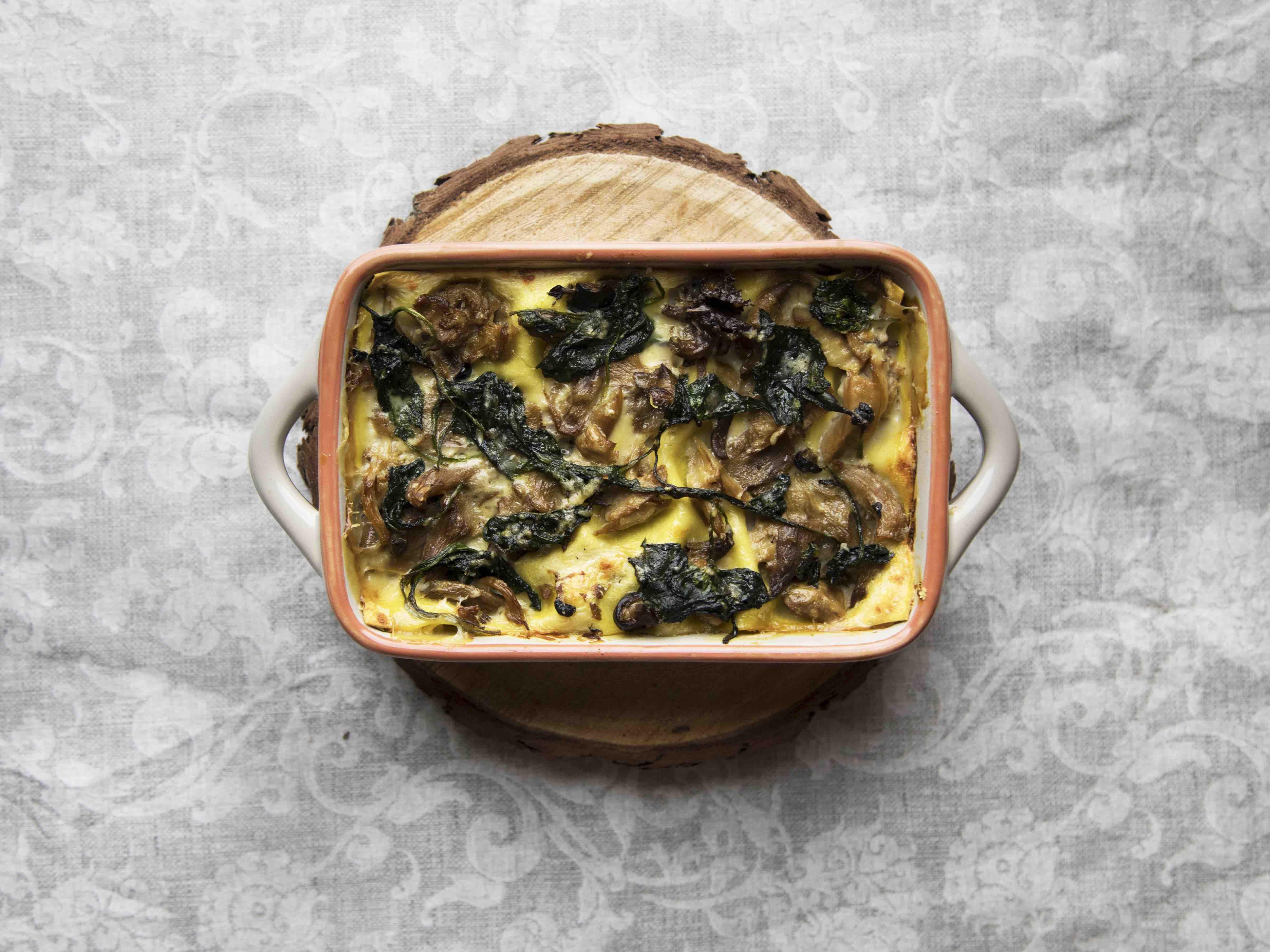 Lasagne bianche ai funghi e spinaci