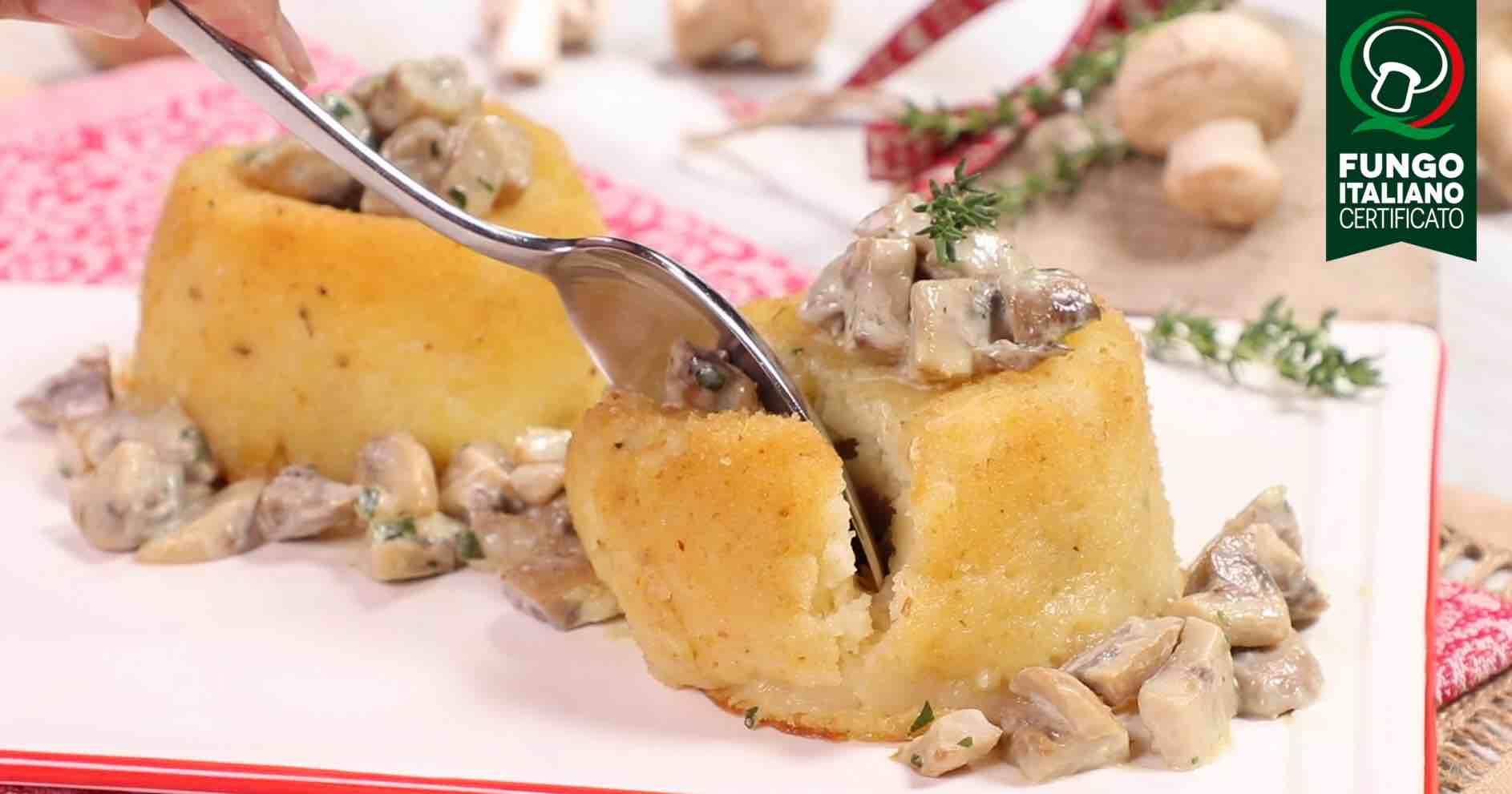 Tortino di patate con Prataioli bianchi