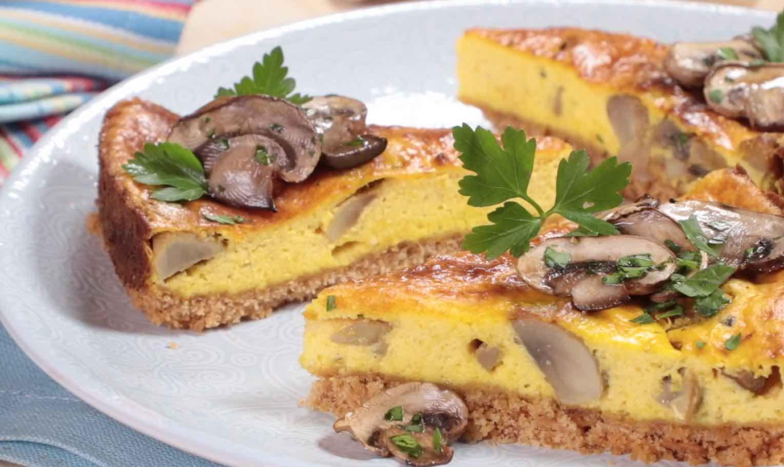 Cheesecake salata allo zafferano e Prataiolo bianco